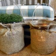 Ljuslykta i glas med säckväv