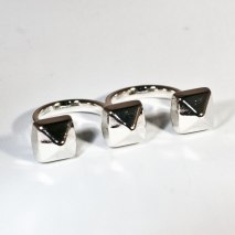 Double Ring Studs Silver