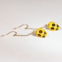 Crazy Skull Earrings Yellow