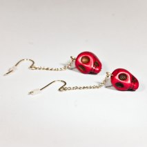 Crazy Skull Earrings Red
