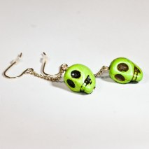 Crazy Skull Earrings Green
