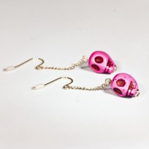 Crazy Skull Earrings Pink