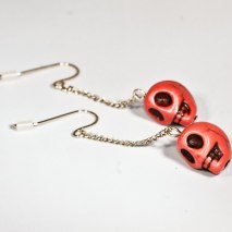 Crazy Skull Earrings Orange