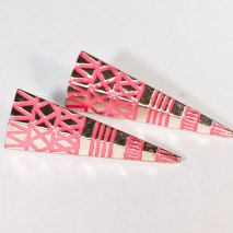 Crazy Spike Earrings Silver/Pink