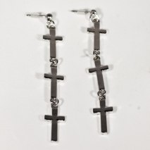 Cross Earrings Link Silver
