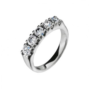 Silverring vitguldsbelagd med 5 cubic zirkonia 