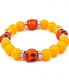 Dödskalle armband orange (neon)