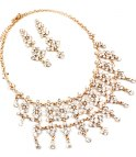 Crystal Luxury Necklace + Earrings Gold/Clear