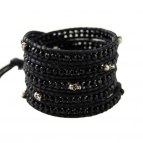 Wrap Skull (Silver/Black) Fine leather Himalaya Collection