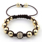 White diamonds 24k Brown/Gold Makramé