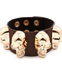 Armband Skull Rock Brown / Gold