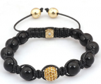 Onyx armband 18 KGP + Rhinestones